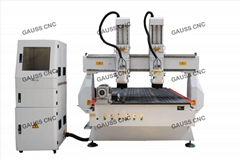 4 Axis 2 Head CNC Wood Router Machine With Rotary