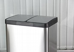 MAX-SN354A 2 Comparment 60l Stainless Steel Foot Pedal Waste Bin for Office Dust