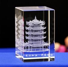 黃鶴樓水晶內雕建築紀念品 湖北特色景點水晶禮品