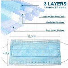 Disposable Folding Face Masks 3 ply Non woven CE Earloop