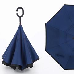 商务定制直杆雨伞高尔夫伞 可站立方向伞 C型手柄雨伞 折叠雨伞