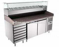 2 Doors 6 Drawers Marble Glass Top Restaurant Pizza Prep Work Table fridge