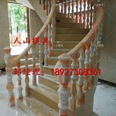 仿汉白玉玛瑙楼梯扶手模具及产品 楼梯柱子扶手弯头硅胶模具