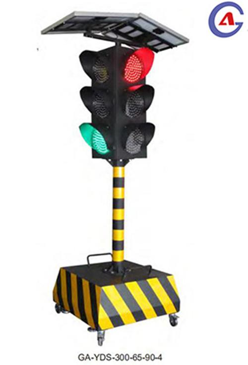 Portable 4 sides solar led flashing construction traffic signal light  1