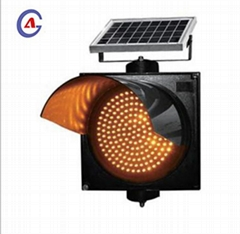 300mm yellow/red rechargeable led solar flashing traffic signal warning light