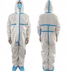 One-piece protective isolation suit surgical gown