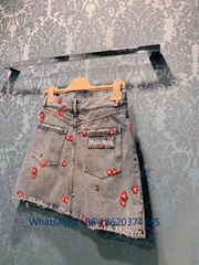stawberry sewing blue jeans short