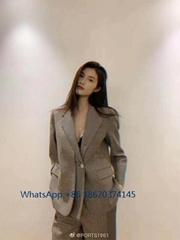 PORTS1916 Office uniform weater top fashion lattice open button long sleeve suit