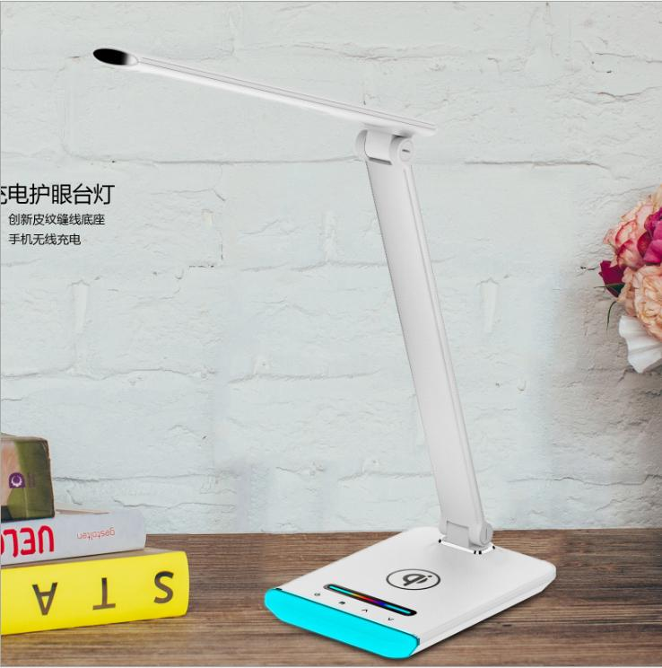 觸摸式五檔調光智能無線充皮紋護眼臺燈 5