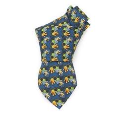 Handmade Men Vintage Allover Tree Frog Custom Digital Print Silk Animal Necktie