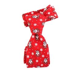 Festival Winter Snow Flake Santa Claus 100% Polyester Printed Christmas Necktie