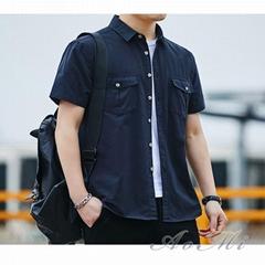 Summer new men's cotton loose short sleeve shirt AOMI-R007
