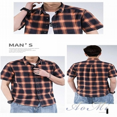 Cotton plaid men's summer half-sleeved shirt AOMI-R0011
