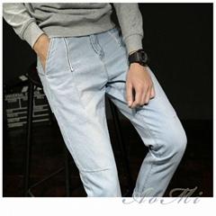 Light color single pants spring and summer men's denim trousers slim harem pants
