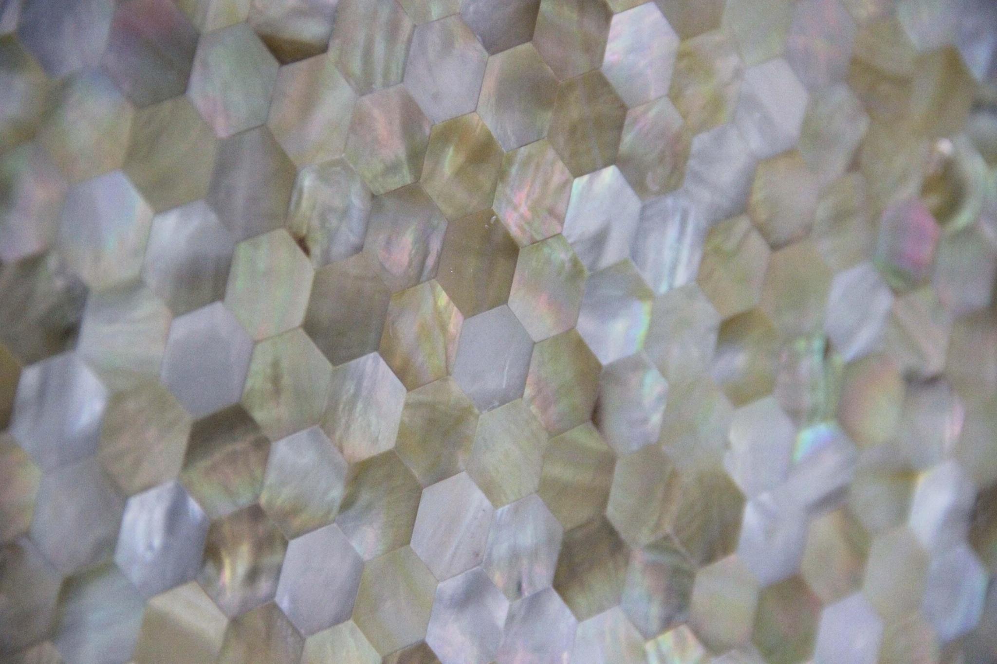 多边形黄海贝马赛克装饰家具面板 2