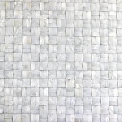 3D Bamboo Weaving Pattern White Fresh Water Shell Mosaic Tiles Mounted on Mesh