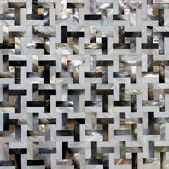 網貼混合回字形黑蝶貝&純白珍珠貝馬賽克