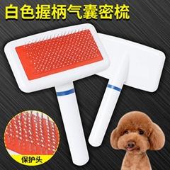 宠物用品白色塑柄密针梳专用狗梳子塑料猫梳子