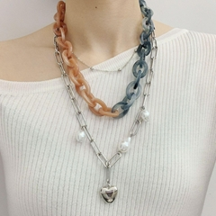punk jewelry multi layered heart pendant necklace with si  er and acrylic chain