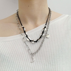 fashion Vintage Punk jewelry Multi layered Link Chain moon pendant Necklace