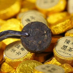 Super authentic aged gold coin black brick tea