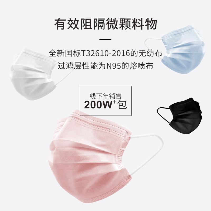 護博士廠家直銷一次性三層口罩無紡佈防灰塵  4
