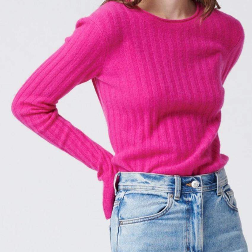Cashmere Ribbed Sweater Fuchsia  3
