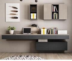 Combined desk bookcase