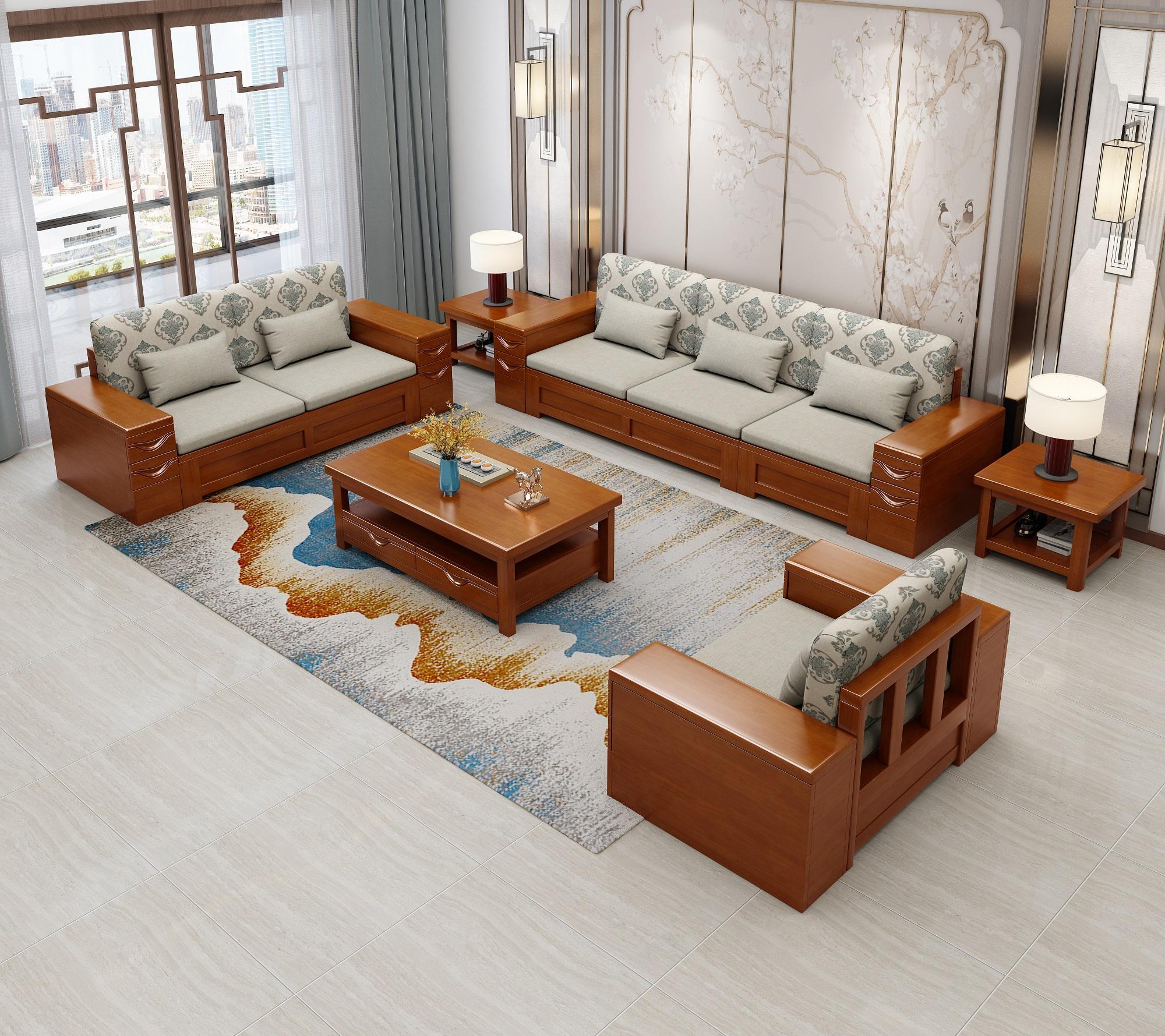 实木沙发组合现代新中式客厅木质家具橡胶木经济型组装中式木沙发 2