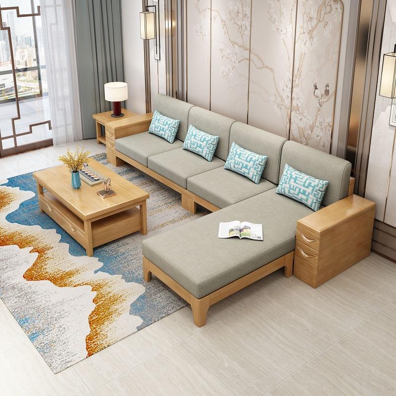 实木沙发组合现代新中式客厅木质家具橡胶木经济型组装中式木沙发 3
