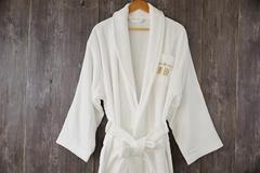 Shawl collar bathrobe 100% cotton white robe with embroidery