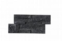 Black quartz S shape culture stone panel