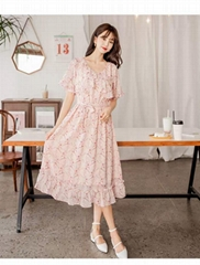 2020 summer new French v-neck platycodon skirt for ladies with chiffon