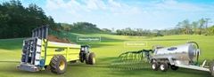 Tractor towing manure fertilizer dispenser spreading equipment with double disc