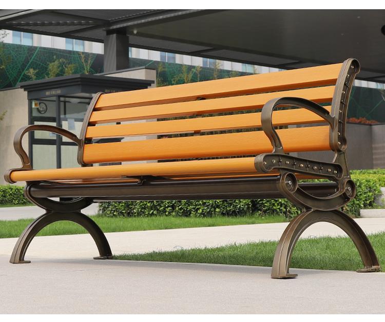 鑄鋁防腐木公園長凳子 1