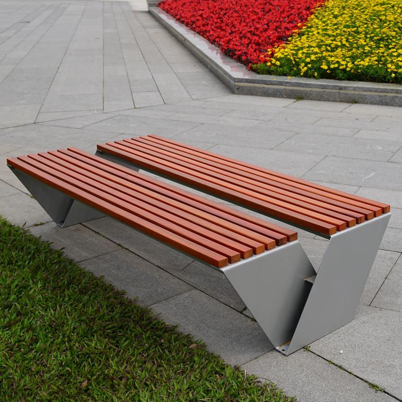 鑄鋁防腐木公園長凳子 4