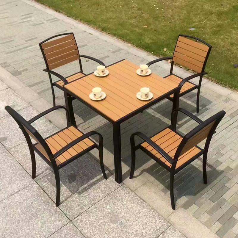 酒吧街戶外實木桌椅沙發 商業街陽台餐飲木質桌椅 2