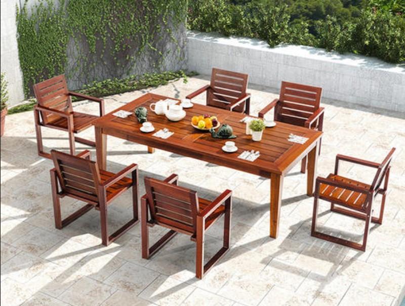 酒吧街戶外實木桌椅沙發 商業街陽台餐飲木質桌椅 3