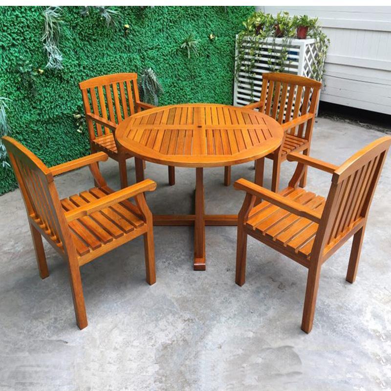 酒吧街戶外實木桌椅沙發 商業街陽台餐飲木質桌椅 4