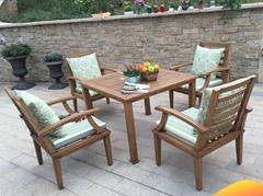酒吧街户外实木桌椅沙发 商业街阳台餐饮木质桌椅