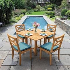 廠家供應景觀區柚木桌椅茶几五件套