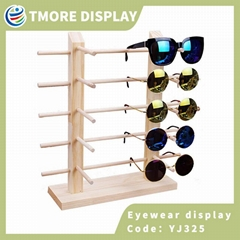 Wood tabletop eyewear display stand