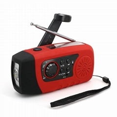 FM Pocket Camping Solar Hand Crank Radio with Power Bank in TF Card MP3 player