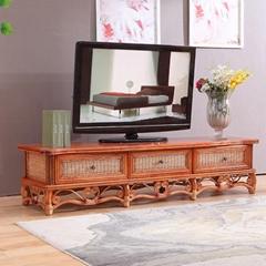 Wholesale Rattan TV Cabinet Soild Wood TV Stand for Living Room