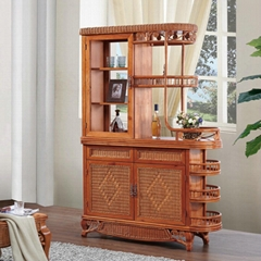 Living Room Rattan Wooden Partition Divider Wine Cabinet