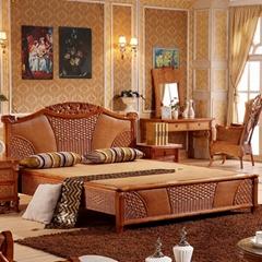 Bedroom Furniture Solid Wood Frame Rattan Headboard Bed