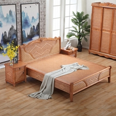 Natural Rattan Bedroom Furniture Double Rattan Woven Bed