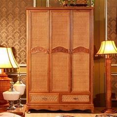 Antique Wardrobe Solid Wood Rattan Almirah Three Door Wooden Wardrobes