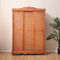 Classic Style Bedroom Furniture Rattan Cane Wooden Wardrobe