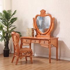 Elegant Wooden and Rattan Makeup Dressing Table Dressers